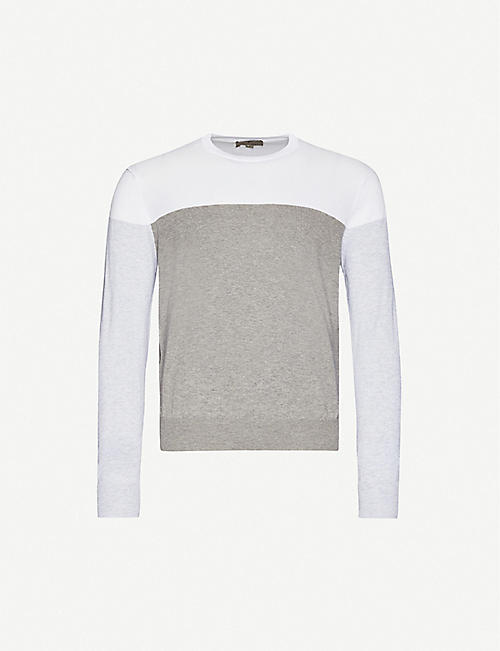 CANALI Colour-blocked cotton-knit jumper