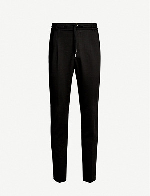 CANALI Tapered wool-blend jogging bottoms