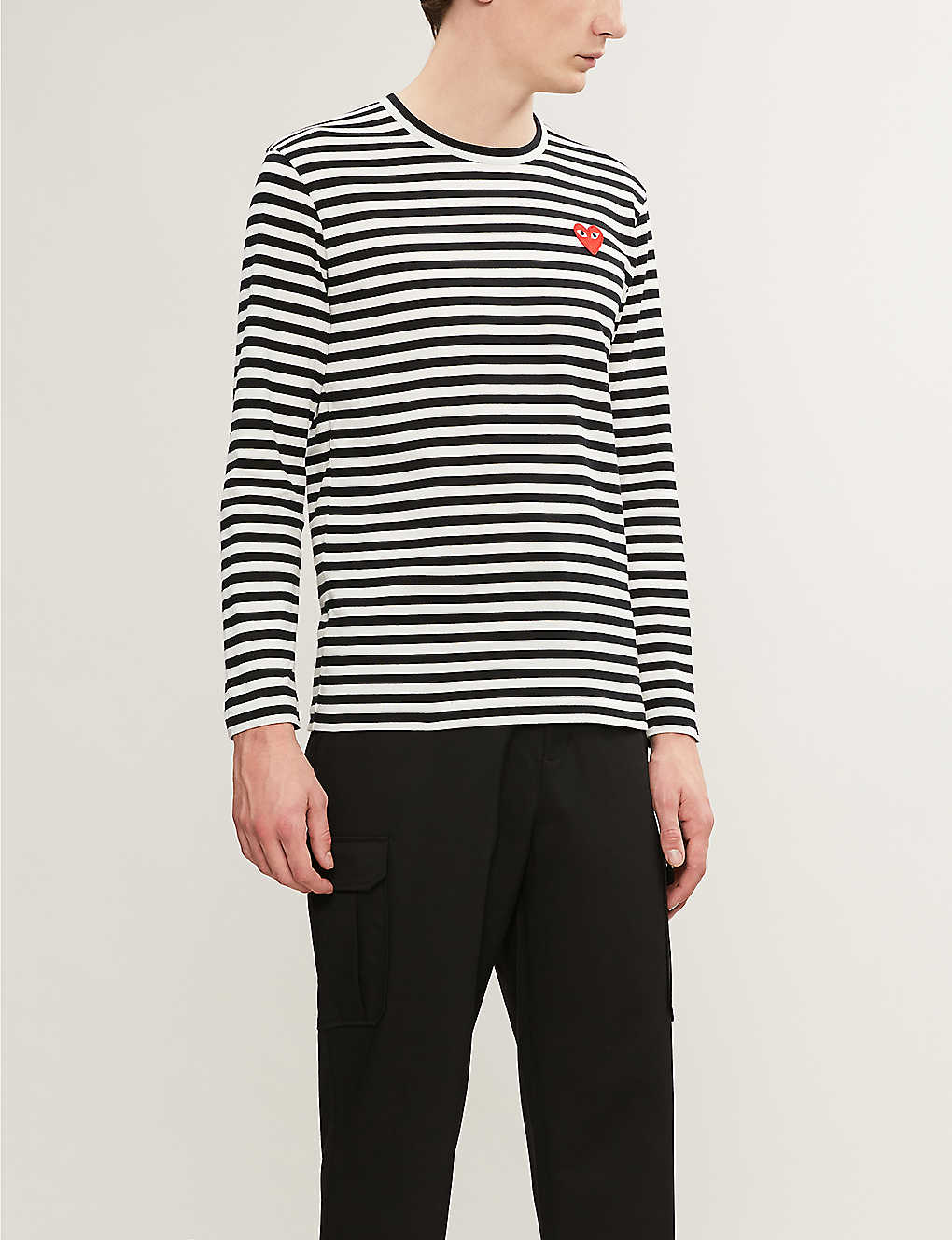COMME DES GARCONS PLAY: Striped cotton jumper