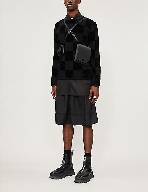 COMME DES GARCONS HOMME PLUS Checkerboard-intarsia wool-blend jumper