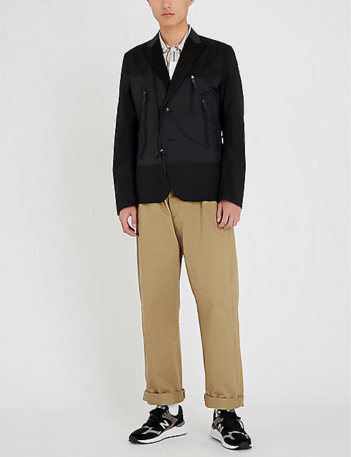 JUNYA WATANABE Contrast-panel wool-blend jacket