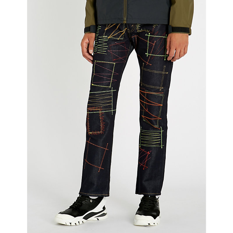 JUNYA WATANABE Contrast-Stitch Regular-Fit Jeans, Indigo
