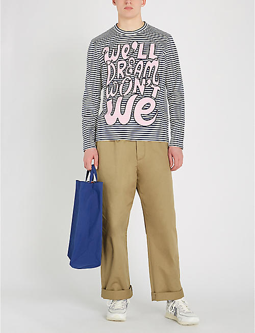 JUNYA WATANABE Slogan-print striped cotton-jersey T-shirt