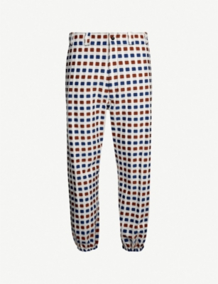 MARNI Geometric-print slim-fit skinny cotton-blend trousers