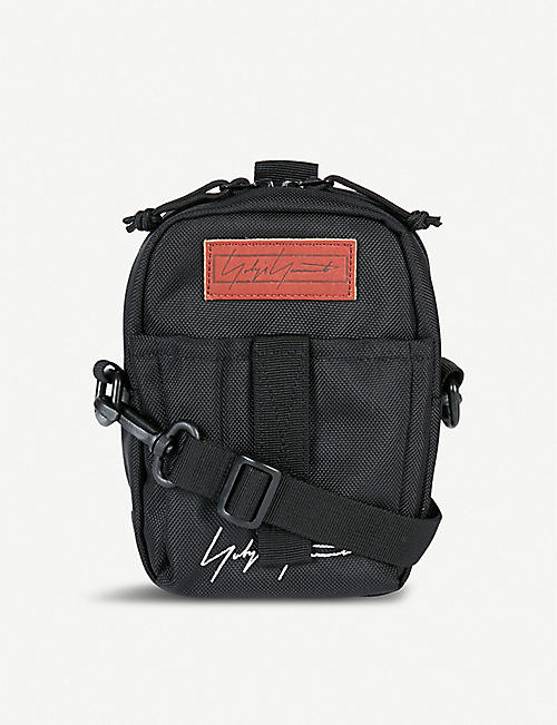 YOHJI YAMAMOTO Logo embroidered nylon shoulder bag
