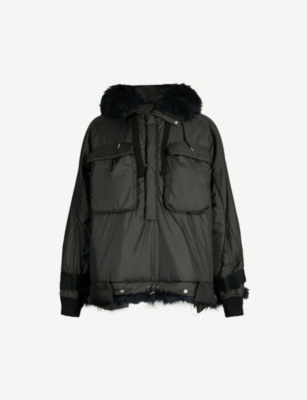 SACAI Faux fur-trimmed shell hooded jacket