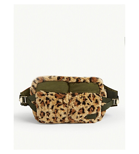 Sacai Belt Leopard print faux-fur belt bag