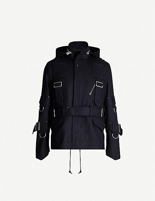 SACAI Buckle-detail wool and leather jacket