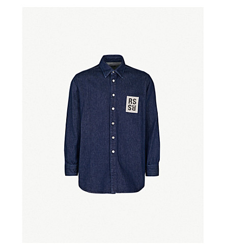33caf92f0e5 RAF SIMONS - Regular-fit logo-patch denim shirt