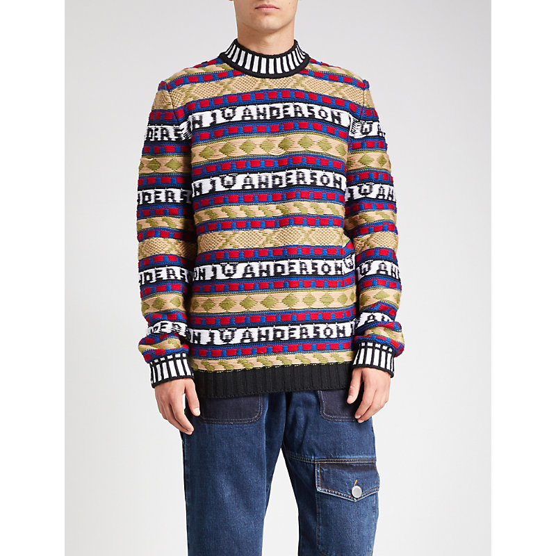 Jw Anderson - Logo Intarsia Fair Isle Sweater - Mens - Multi, Black