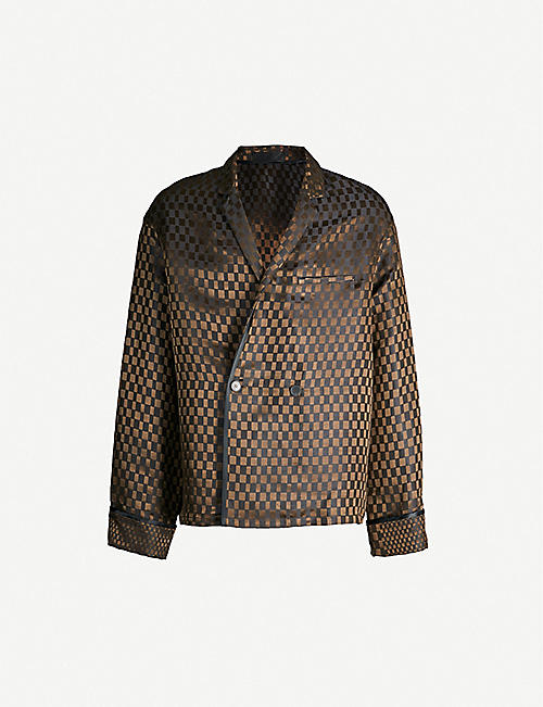 1ab246df587 HAIDER ACKERMANN Cara checked double-breasted linen and silk-blend jacket
