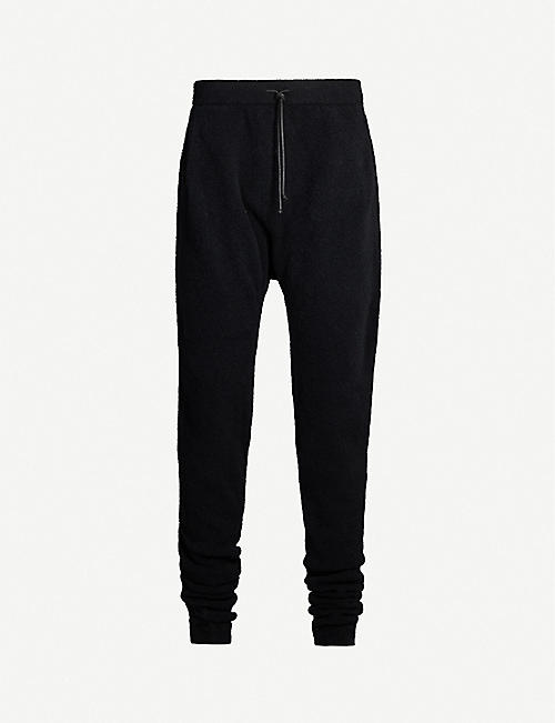 ISABEL BENENATO Drawstring-waist tapered stretch-wool-blend trousers