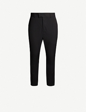 ISABEL BENENATO Satin-trim slim-fit virgin wool trousers