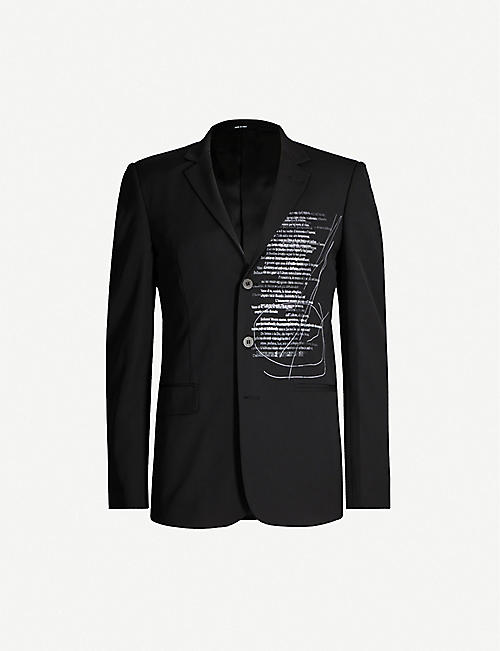 ISABEL BENENATO Poem-print slim-fit wool blazer