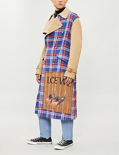 LOEWE Checked cotton trench coat