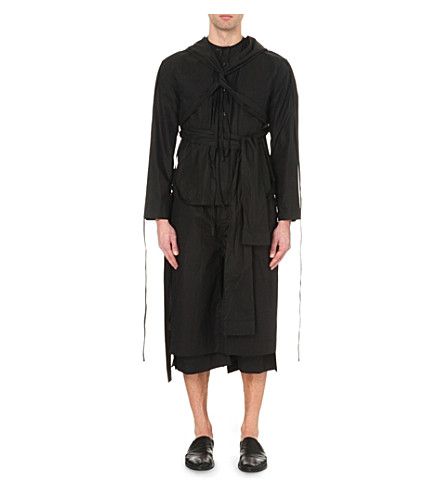 Laced Cotton Biker Jacket in Black