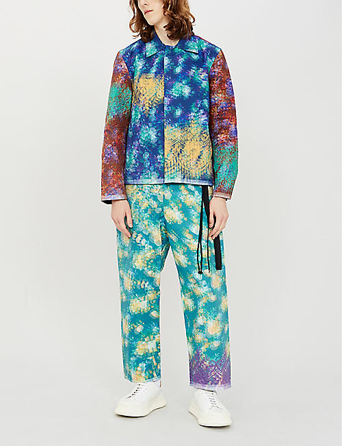 CRAIG GREEN Graphic-print cropped regular-fit straight shell trousers