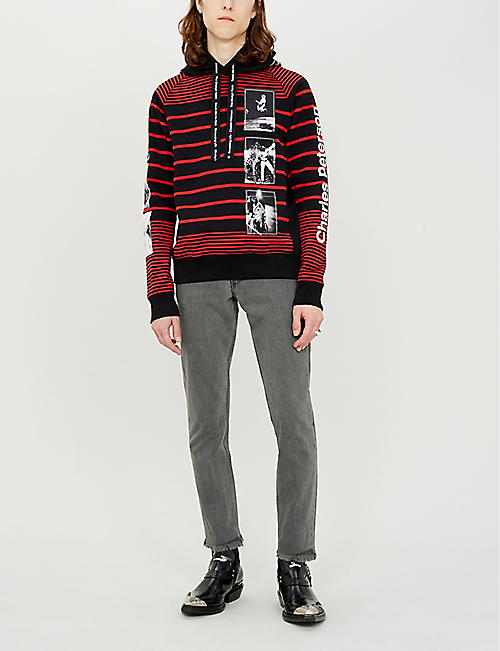 THE SOLOIST Striped graphic-print cotton-jersey hoody