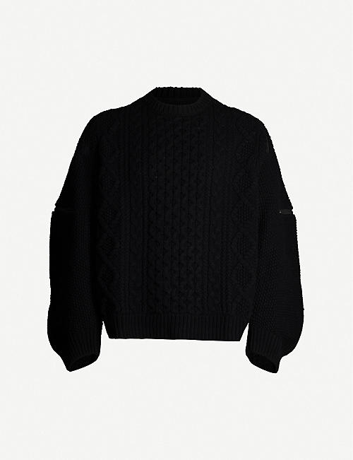 THE SOLOIST Zip-embellished cable-knit wool jumper