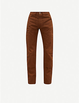 THE SOLOIST: Double Knee tapered cotton-twill trousers