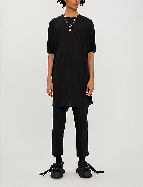 BORIS BIDJAN SABERI Longline cotton and cashmere-blend T-shirt