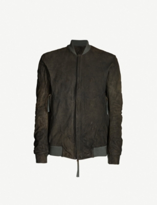 BORIS BIDJAN SABERI Distressed leather bomber jacket