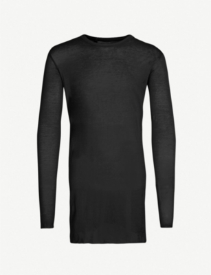 BORIS BIDJAN SABERI Crewneck raw-hem cotton-jersey top