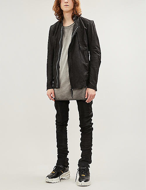 BORIS BIDJAN SABERI Regular-fit tapered coated jeans