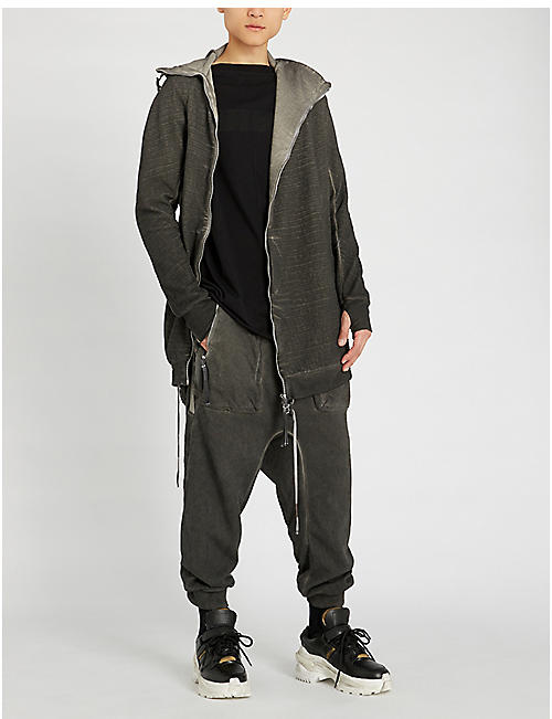 BORIS BIDJAN SABERI Dropped-crotch cotton jogging bottoms