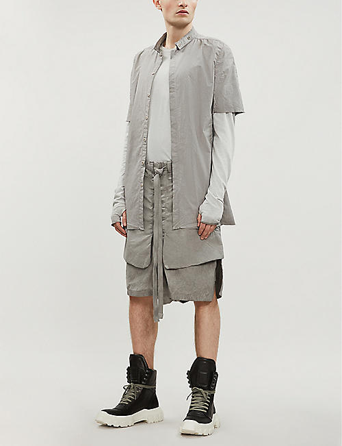 BORIS BIDJAN SABERI Longline regular-fit cotton-blend shirt