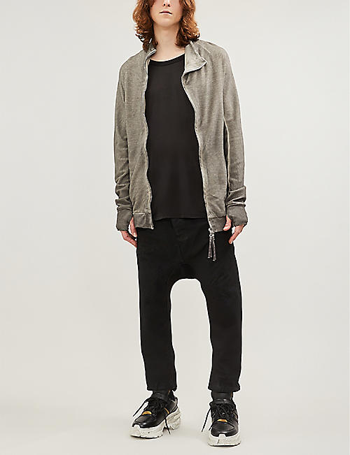 BORIS BIDJAN SABERI Distressed zip-through cotton-jersey sweatshirt