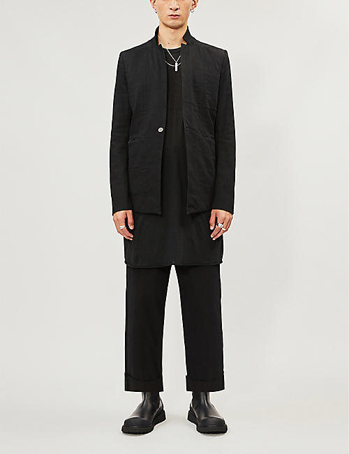BORIS BIDJAN SABERI One button slim-fit cotton-blend blazer