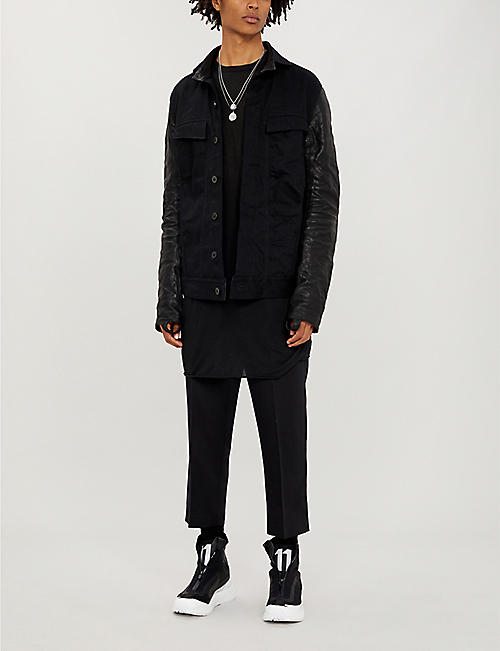 BORIS BIDJAN SABERI Longline denim and leather jacket