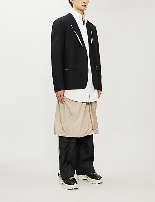 MAISON MARGIELA Piped-trims relaxed-fit wool blazer