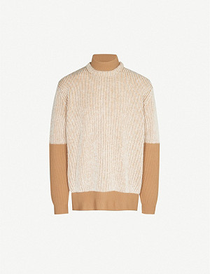 MAISON MARGIELA Layered funnel-neck striped wool-blend jumper
