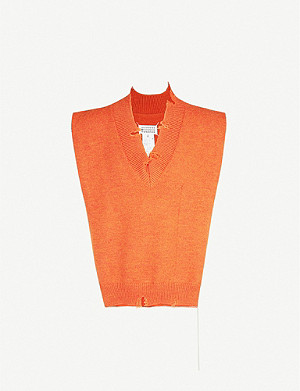 MAISON MARGIELA Distressed-trim V-neck wool jumper