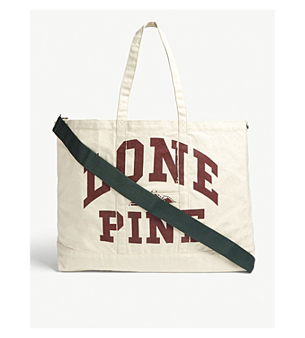 REESE COOPER Lone Pine Oversized Canvas Tote in Cream