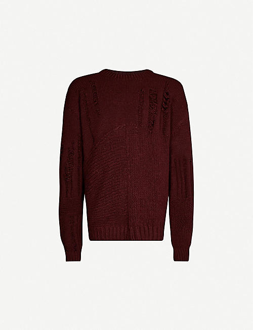 ANN DEMEULEMEESTER Distressed wool-blend jumper