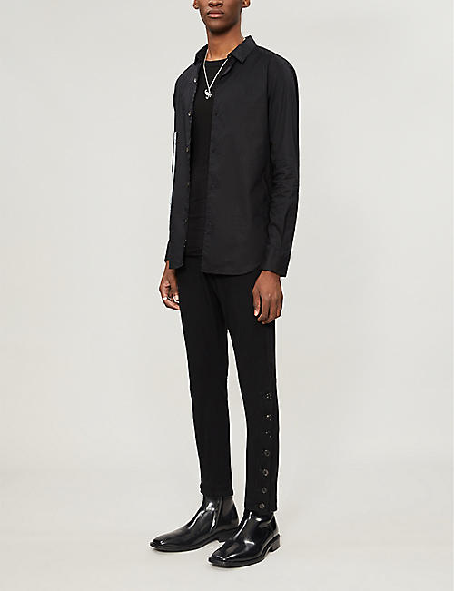 ANN DEMEULEMEESTER Slim-fit graphic-print cotton shirt