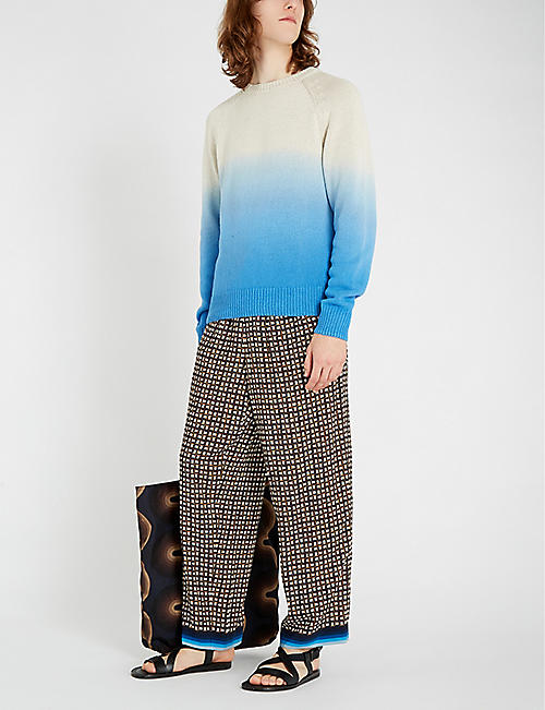 DRIES VAN NOTEN Dip-dye cotton and linen-blend jumper
