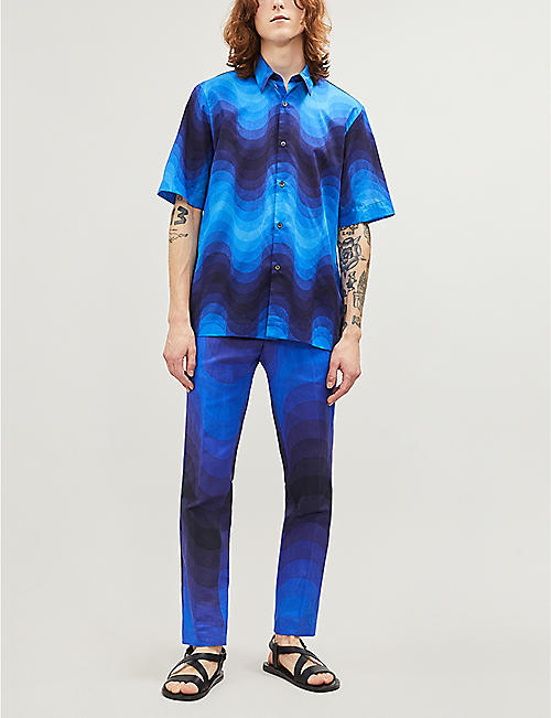 DRIES VAN NOTEN Graphic-pattern regular-fit straight cotton and linen-blend trousers