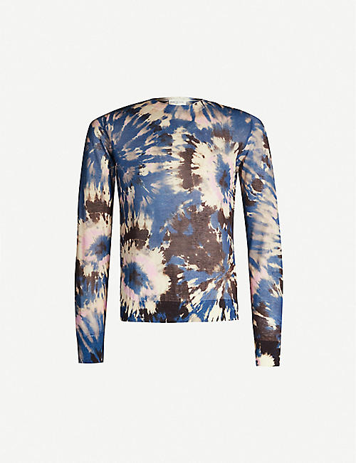 DRIES VAN NOTEN Tie-dye cotton-blend jumper
