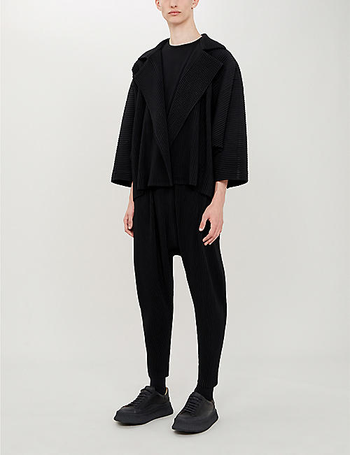 HOMME PLISSE ISSEY MIYAKE Dropped-crotch regular-fit pleated-crepe trousers