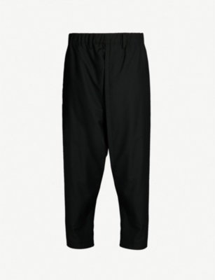 ISSEY MIYAKE Tapered dropped-crotch wool-poplin trousers