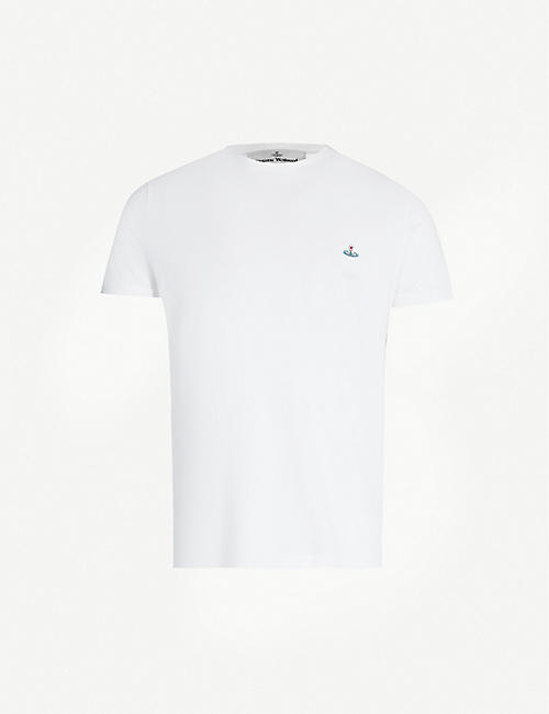 VIVIENNE WESTWOOD Logo-embroidered organic cotton-jersey T-shirt