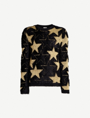 SAINT LAURENT Metallic star knitted jumper