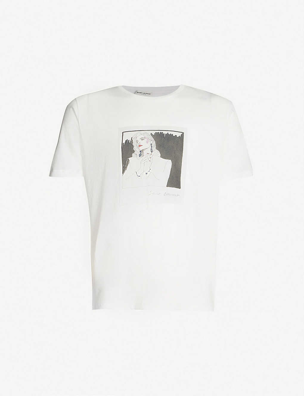 75da25eb9b38 SAINT LAURENT - Logo-print cotton-jersey T-shirt | Selfridges.com