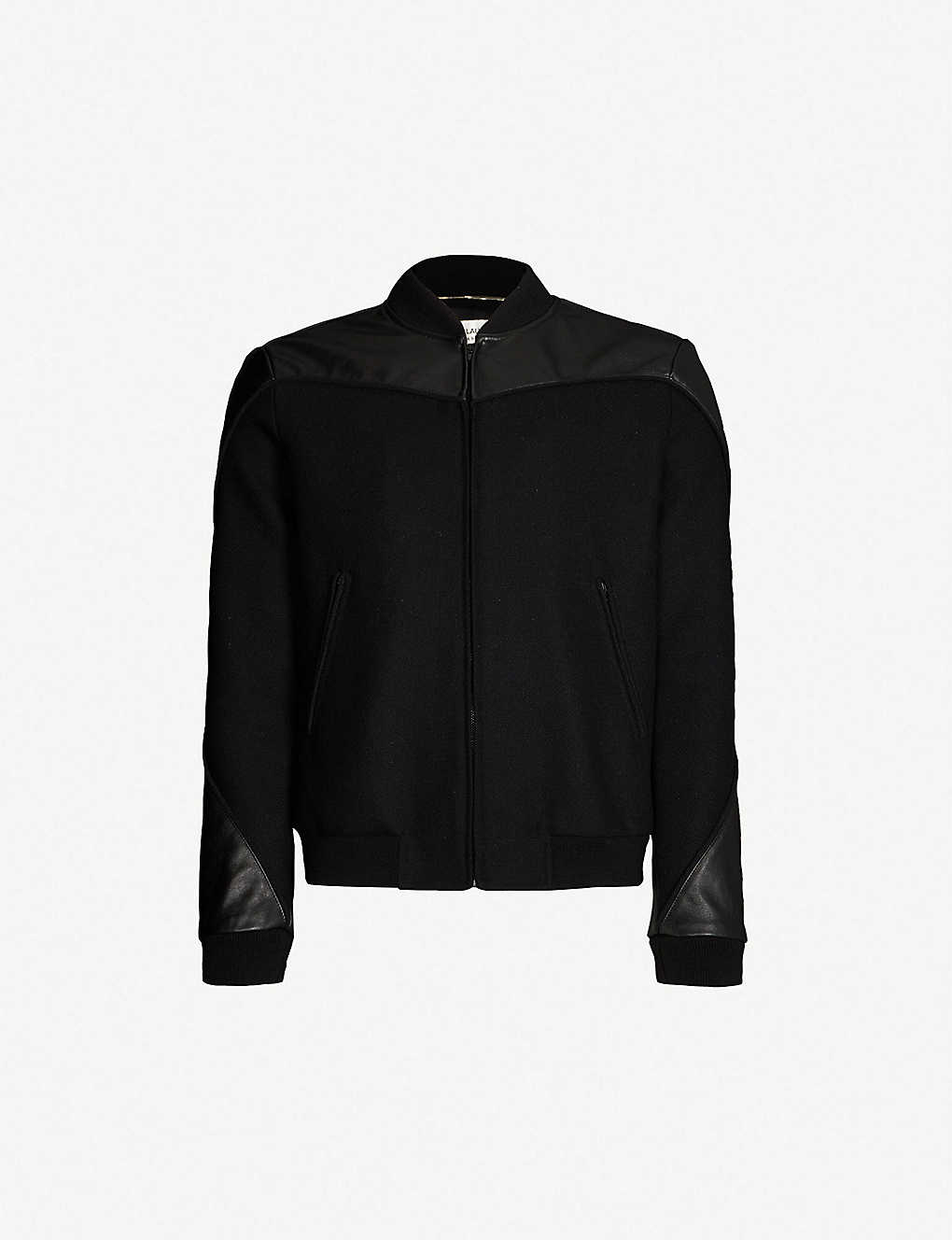 de3d9cb2f Panelled wool-blend and leather jacket