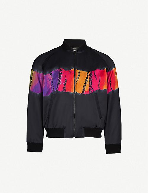 2c836f52a438 SAINT LAURENT Tie-dye satin bomber jacket