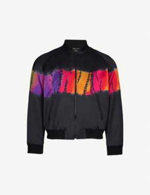 SAINT LAURENT Tie-dye satin bomber jacket